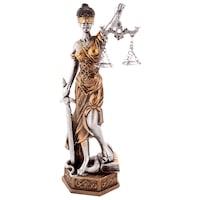 Статуетка Темида с везни, Сребрист/Зластист, 7166, 24см