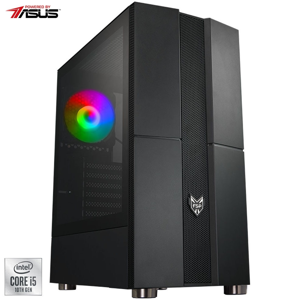 Fotografie Sistem Desktop PC Gaming Serioux Powered by ASUS cu procesor Intel® Core™ i5-10400 pana la 4.30GHz, 16GB DDR4, 512GB SSD, GeForce® RTX 2060 6GB GDDR6