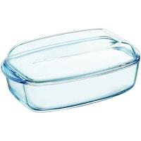 Vas dreptunghiular Pyrex Essentials, cu capac, sticla termorezistenta, 30 x 19 x 13 cm, 3 L + 1.5 L