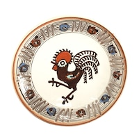 Farfurie din ceramica de Horezu, Cocosul de Hurez, model 4256, Ø 190 mm