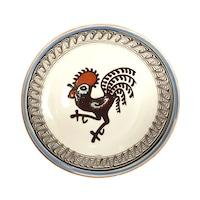 Farfurie din ceramica de Horezu, Cocosul de Hurez, model 4253, Ø 190 mm