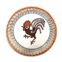 Farfurie din ceramica de Horezu, Cocosul de Hurez, model 4259, Ø 190 mm