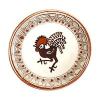 Farfurie din ceramica de Horezu, Cocosul de Hurez, model 4266, Ø 190 mm