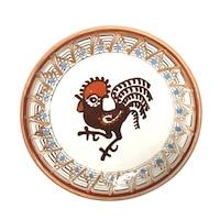 Farfurie din ceramica de Horezu, Cocosul de Hurez, model 4260, Ø 190 mm