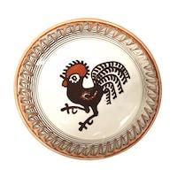 Farfurie din ceramica de Horezu, Cocosul de Hurez, model 4262, Ø 190 mm