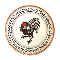 Farfurie din ceramica de Horezu, Cocosul de Hurez, model 4267, Ø 190 mm