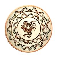 Farfurie din ceramica de Horezu, Cocosul de Hurez, model 4269, Ø 190 mm