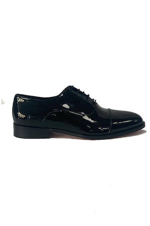 Pantofi barbati, 4 Men Ceremony, Piele naturala, negru lucios cu model, 42 EU