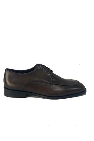 Pantofi barbati, 4 Men Ceremony, Piele naturala, maro inchis cu model, 38 EU