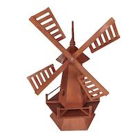 Moara din lemn pentru gradina, artizanat, decoratiune, handmande, 72hx41Lx50l, rosu inchis