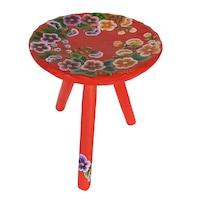 Scaun cu trei picioare, living/bucatarie/dormitor, lemn, pictat manual, 22x23, motiv floral, multicolor