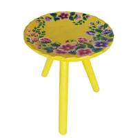 Scaun cu trei picioare, living/bucatarie/dormitor, pictat manual, lemn, 22 x 23, motiv floral, multicolor
