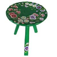 Scaun cu trei picioare, living/bucatarie/dormitor, lemn, pictat manual, 22 x 23, motiv floral, verde inchis