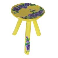 Scaun cu trei picioare, living/bucatarie/dormitor, pictat manual, lemn, 22 x 23, rotund, multicolor