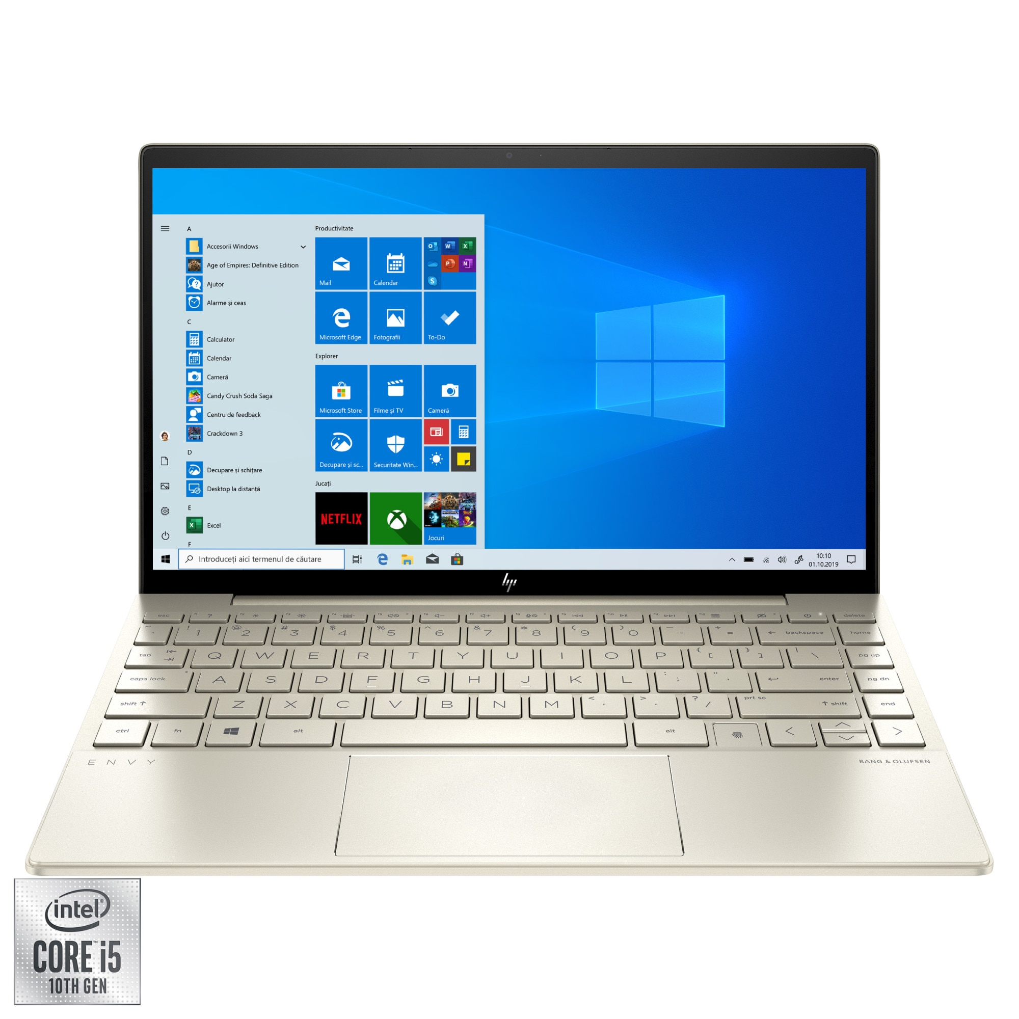 "Fotografie Laptop HP ENVY 13-ba0019nn cu procesor Intel® Core™ i5-10210U, 13.3"" Full HD, IPS, 8GB, 256GB SSD, NVIDIA® GeForce® MX350 2GB, Windows 10 Home, Pale Gold"