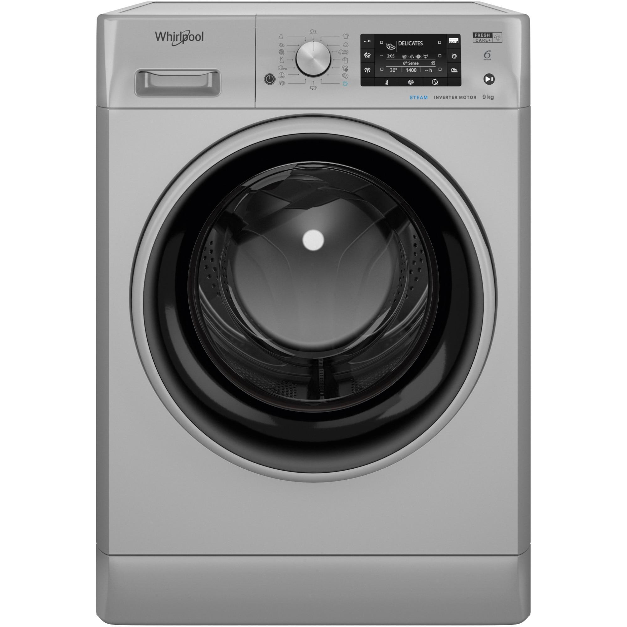 Fotografie Masina de spalat rufe Whirlpool FFD9448SBSVEU, 9kg, 1400 rpm, Clasa C, Tehnologia al-6lea Simt, Motor Inverter, FreshCare+, Steam Refresh, Steam Hygiene, Display LCD, Argintiu