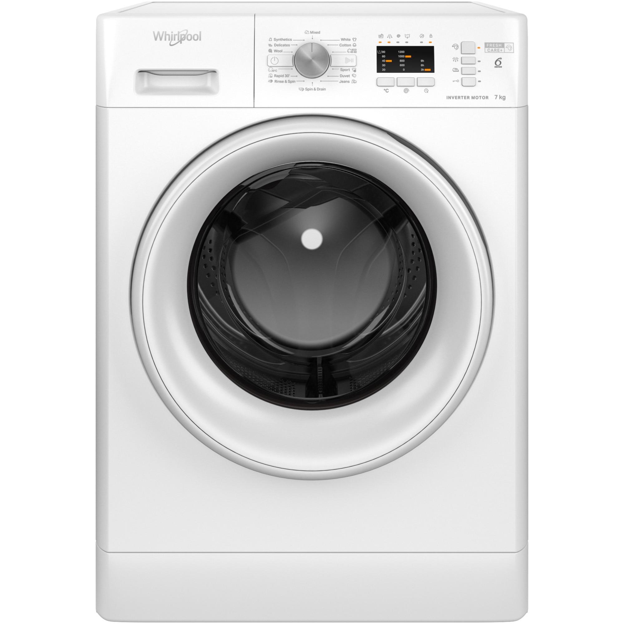 Fotografie Masina de spalat rufe Whirlpool FFL7238WEE, 7kg, 1200 RPM, Clasa D, Tehnologia al 6-lea Simt, Motor Inverter, FreshCare, Alb