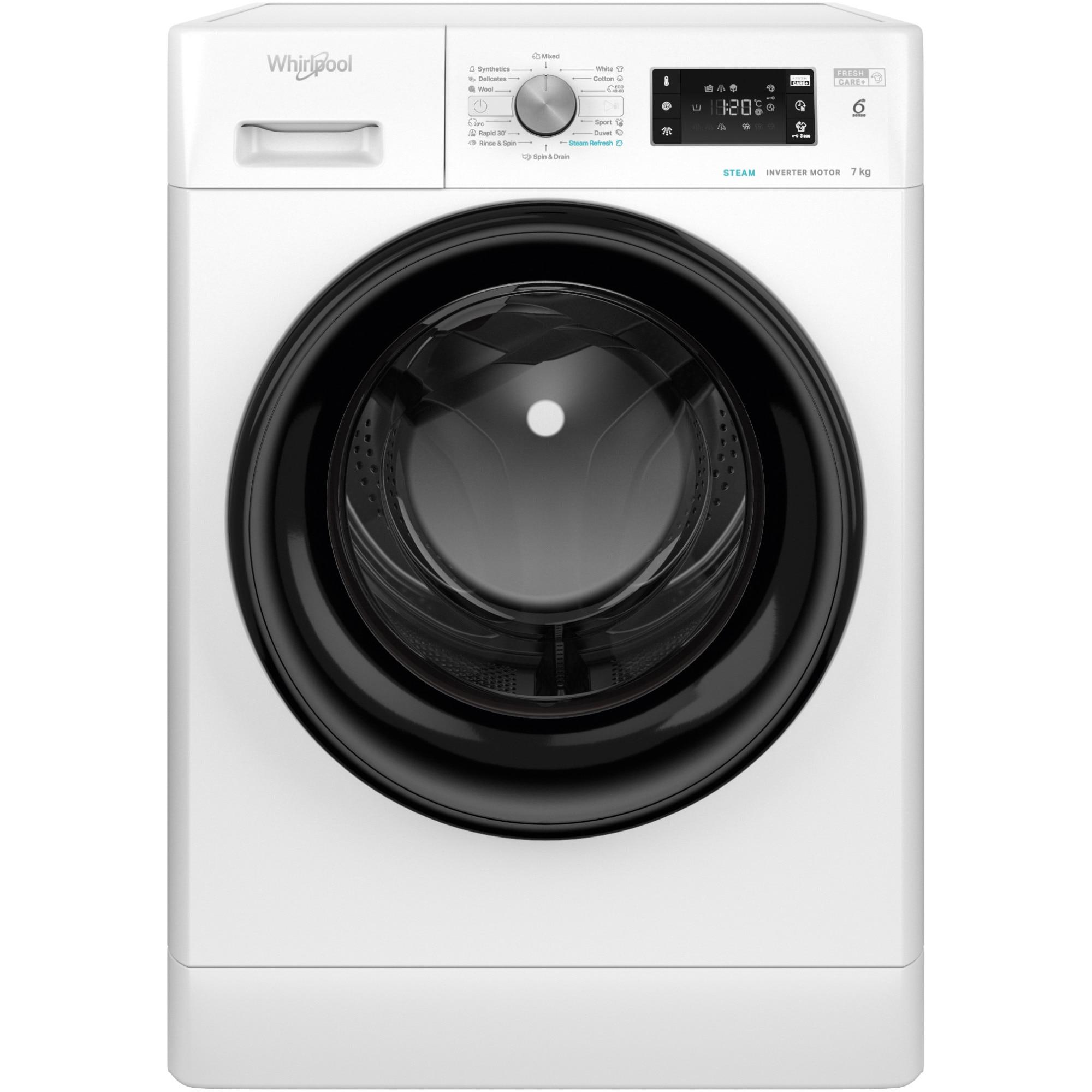 Fotografie Masina de spalat rufe Whirlpool FFB7438BVEE, 7kg, 1400 RPM, Clasa A+++, Tehnologia al-6lea Simt, Motor Inverter, FreshCare+, Steam Refresh, Alb