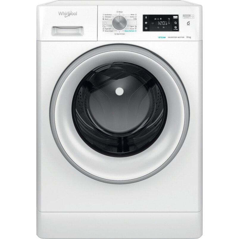 Fotografie Masina de spalat rufe Whirlpool FFB8248SVEE, 8kg, 1200 RPM, Clasa C, Tehnologia al-6lea Simt, Motor Inverter, FreshCare+, Steam Refresh, Alb