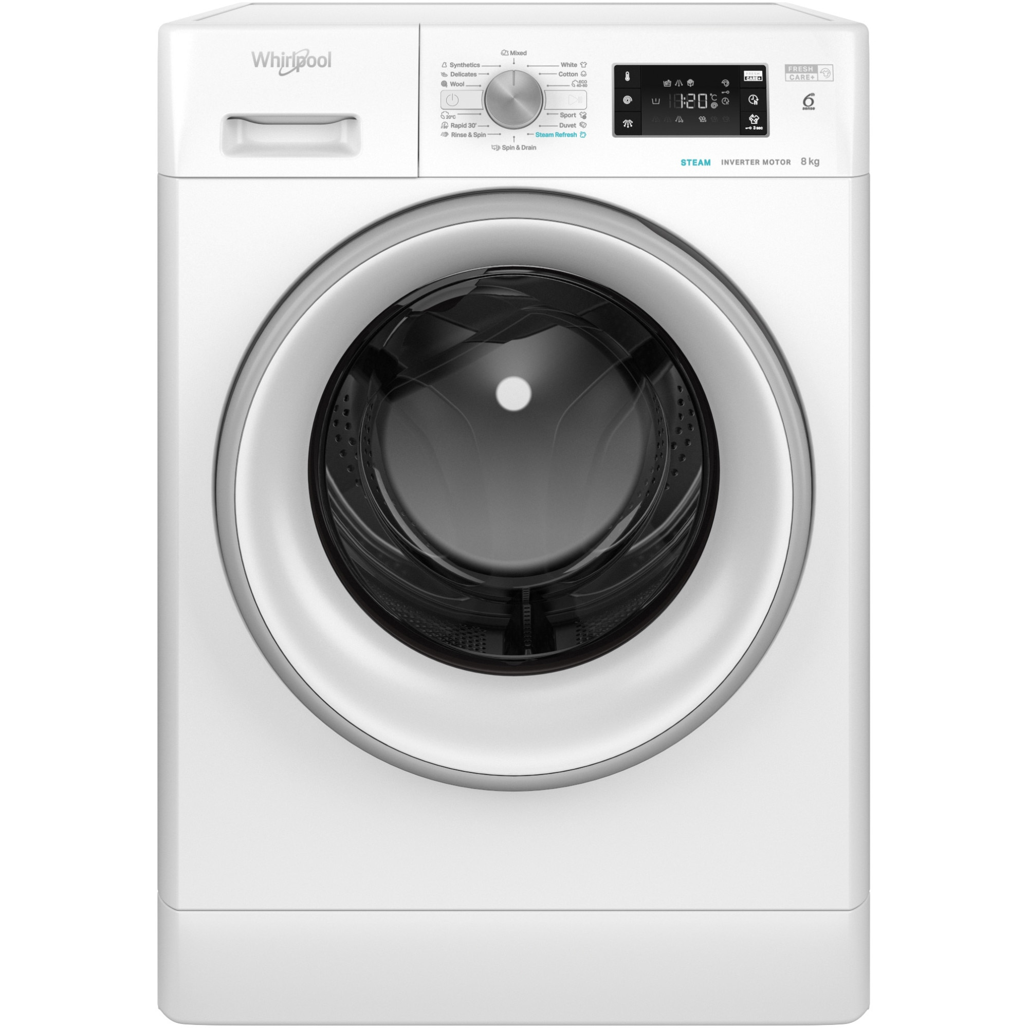 Fotografie Masina de spalat rufe Whirlpool FreshCare+ FFB8248SVEE, 8 kg, 1200 rpm, Clasa A+++, Steam Refresh, Tehnologia al-6lea Simt, Motor Inverter, Alb