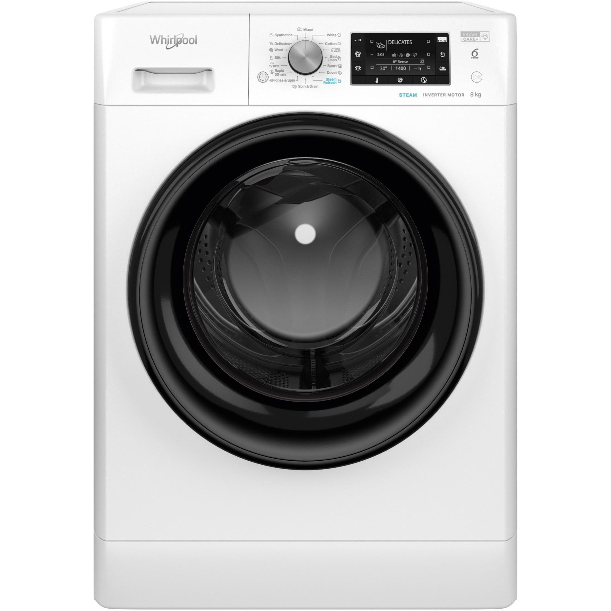 Fotografie Masina de spalat rufe Whirlpool FFD8638BVEE, 8kg, 1600 RPM, Clasa A+++, Tehnologia al-6lea Simt, Motor Inverter, FreshCare, Steam Refresh, Steam Hygiene, Display LCD, Alb