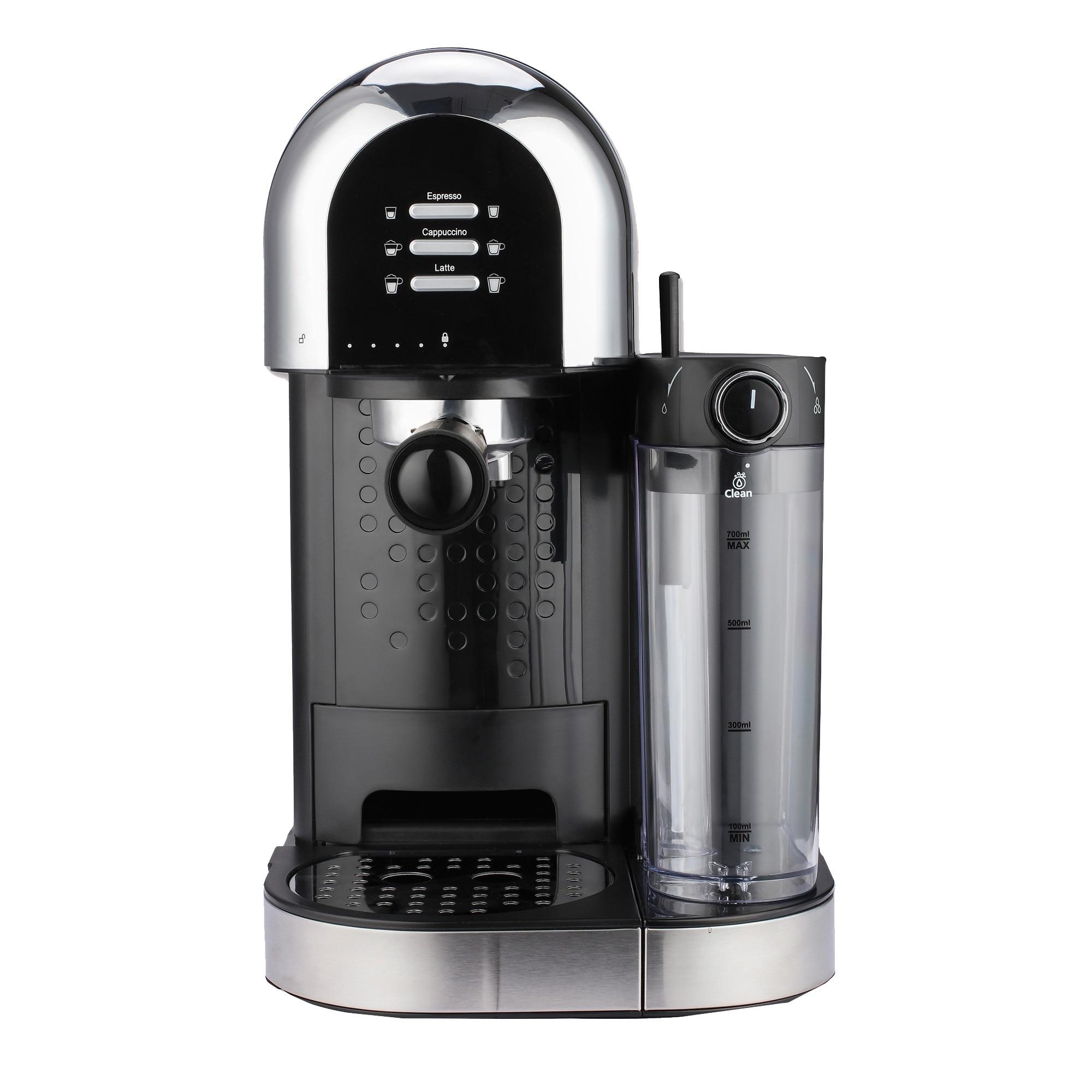 Fotografie Espressor manual Heinner Coffee Dreamer HEM-DL1470BK, 1230-1470W, 20bar, , dispozitiv spumare lapte, rezervor detasabil lapte 500ml, rezervor apa 1.7L, 6 tipuri de bauturi, Negru