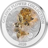 """Сребърна монета SAMOA """"3D Златни цветя - Роза"""", 1 Oz"""