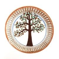 Farfurie din ceramica de Horezu, Pomul vietii, model 4278, Ø 190 mm