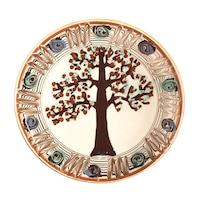 Farfurie din ceramica de Horezu, Pomul vietii, model 4292, Ø 190 mm