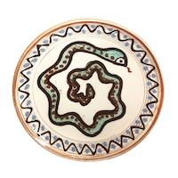 Farfurie din ceramica de Horezu, Sarpele casei, model 4305, Ø 190 mm