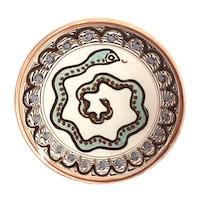 Farfurie din ceramica de Horezu, Sarpele casei, model 4306, Ø 190 mm