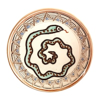 Farfurie din ceramica de Horezu, Sarpele casei, model 4308, Ø 190 mm