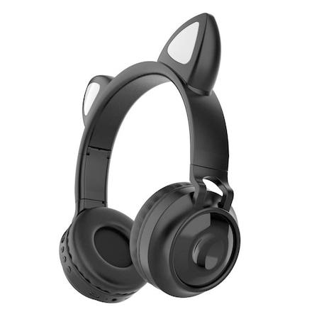 Casti audio Wireless, Nou stil, Iluminare LED, Rezistent la apa, Bluetooth 5.0, Stereo, HiFi Negru