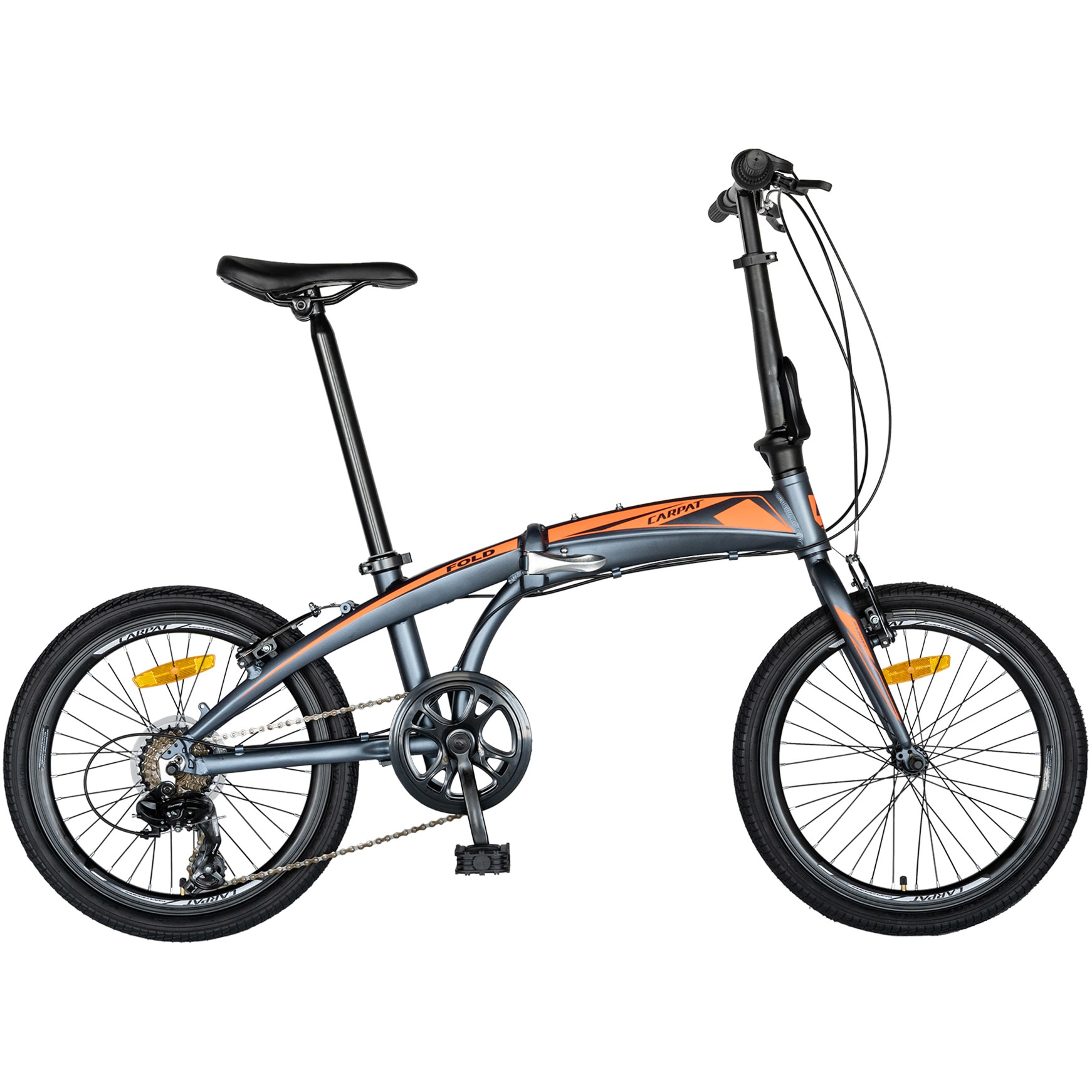 Fotografie Bicicleta pliabila, C2052C, cadru aluminiu, transmisie Shimano, Gri/Portocaliu