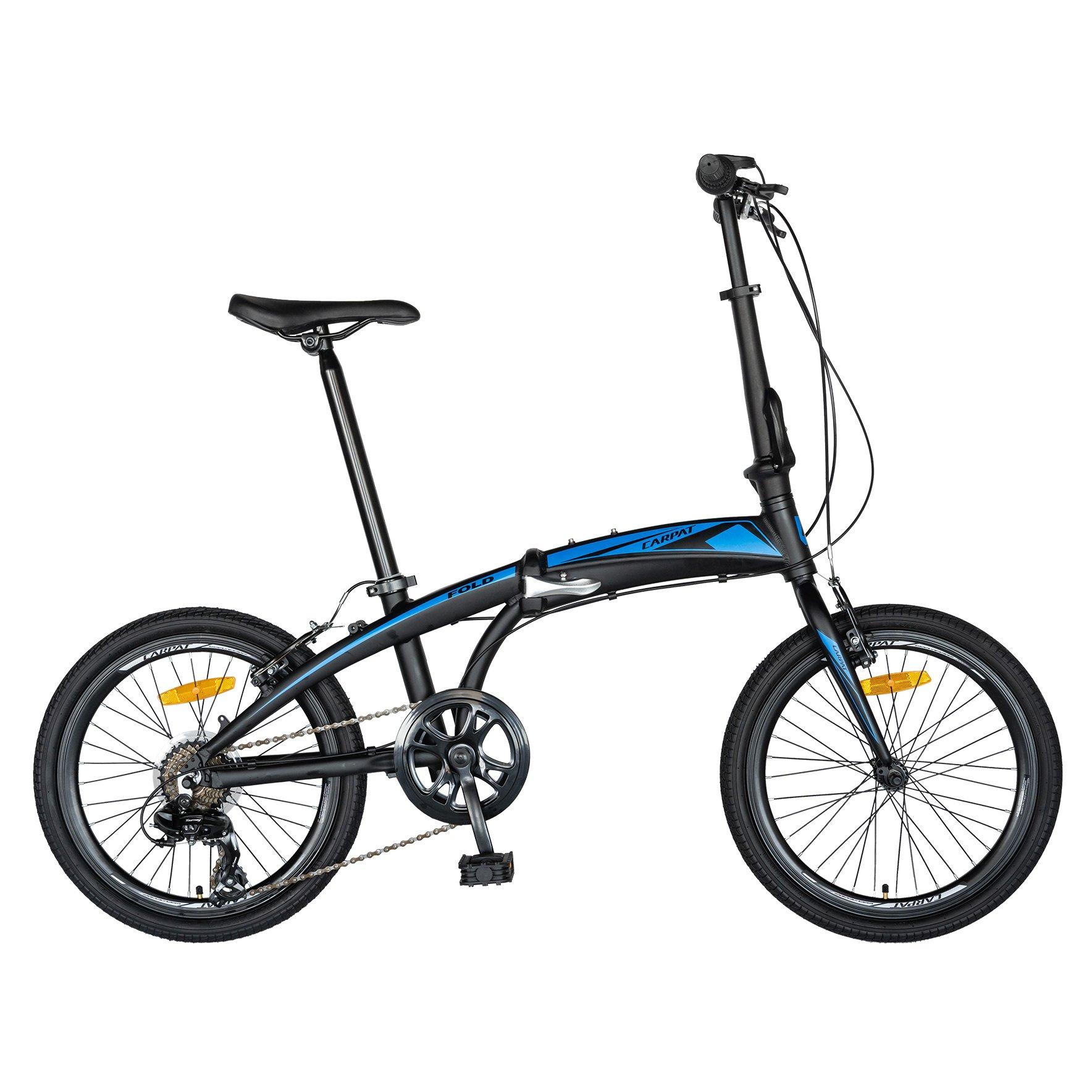Fotografie Bicicleta pliabila, C2052C, cadru aluminiu, transmisie Shimano, Negru/Albastru