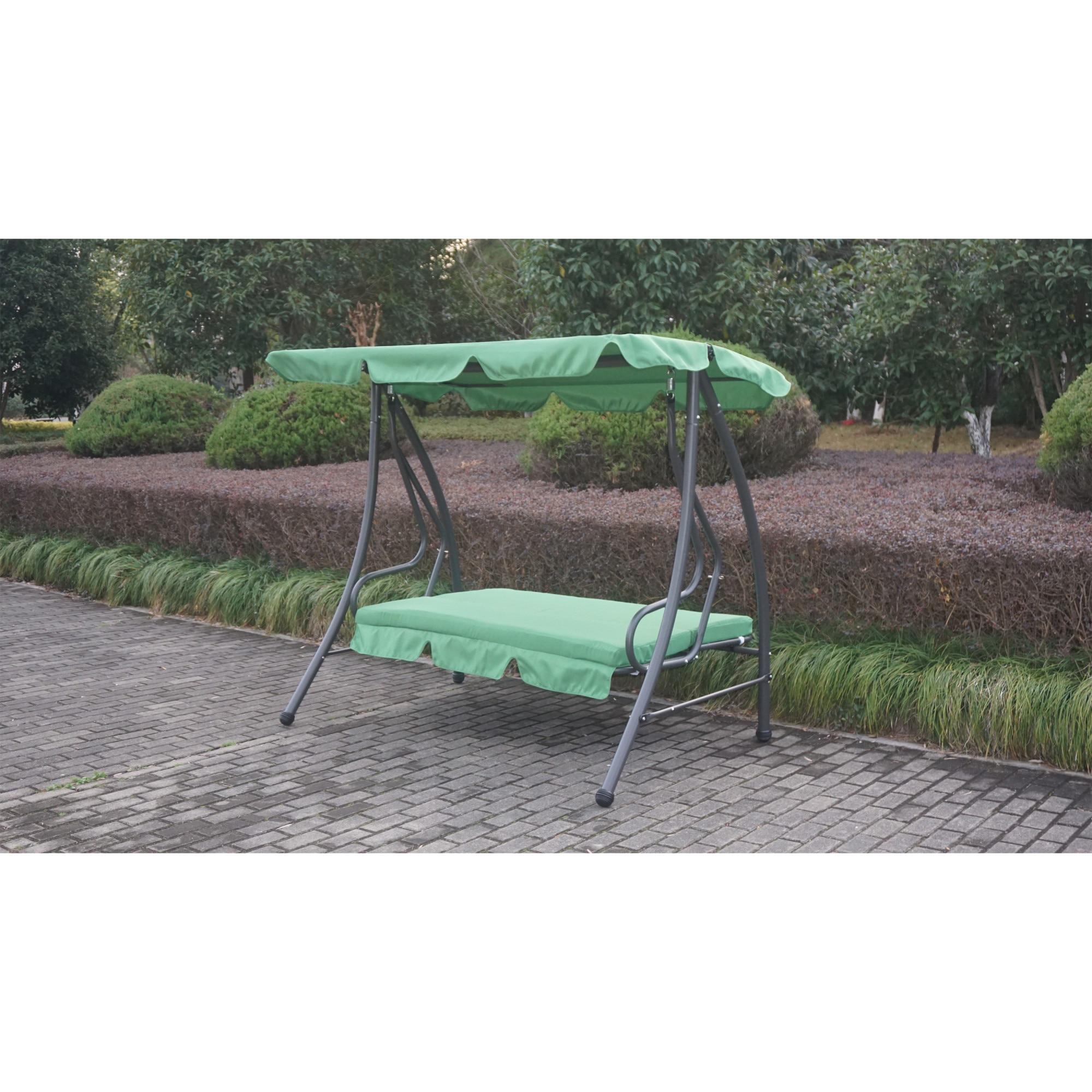 Fotografie Leagan/balansoar cu spatar rabatabil pentru gradina/terasa, Kring Sorrento, 195x120x164cm, Verde