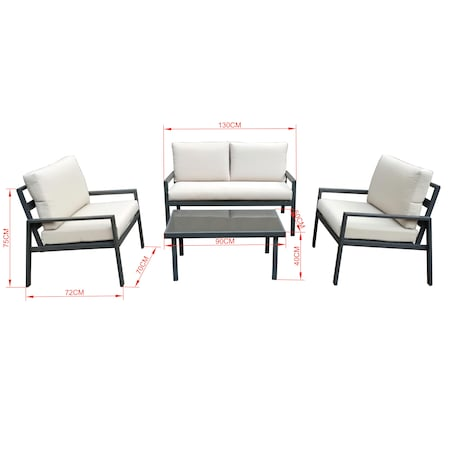 Set mobilier gradina/terasa Kring Berga, masa, canapea, 2 fotolii, include perna 9 cm