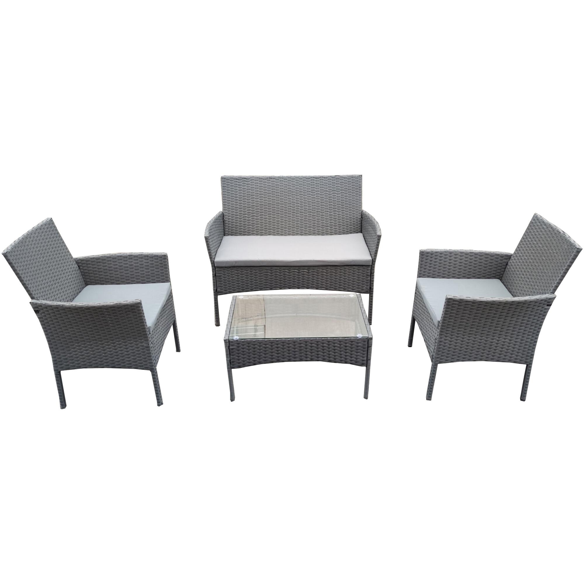 Fotografie Set mobilier gradina/terasa Kring Barkaro, masa, canapea, 2 fotolii,perne antracit