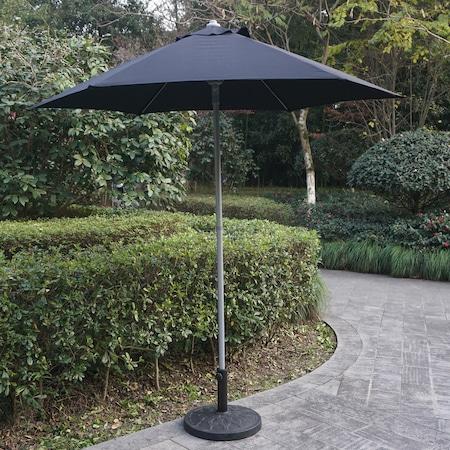 Set mobilier gradina/terasa Kring Donso, masa, 6 scaun pliabile, umbrela, culoare antracit