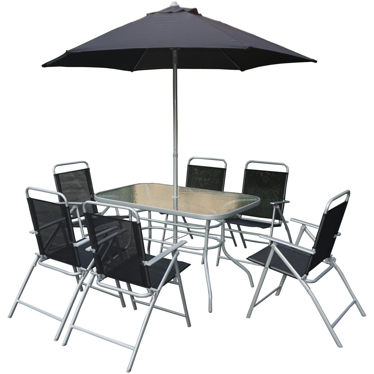 Fotografie Set mobilier gradina/terasa Kring Donso, masa, 6 scaun pliabile, umbrela, culoare antracit