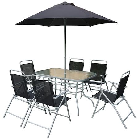 Комплект мебели за градина/тераса Kring Donso, Маса, 6 сгъваеми стола, Чадър, Антрацит