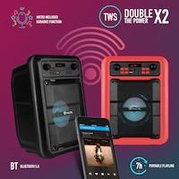 Boxa activa Karaoke portabila bluetooth intrare USB, card reader, AUX, microfon dinamic cu fir, putere 20 W