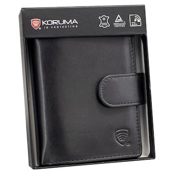 Portofel barbati, piele naturala, securitate RFID BLOCK, buzunar pentru buletin, SM-904PBL, Negru