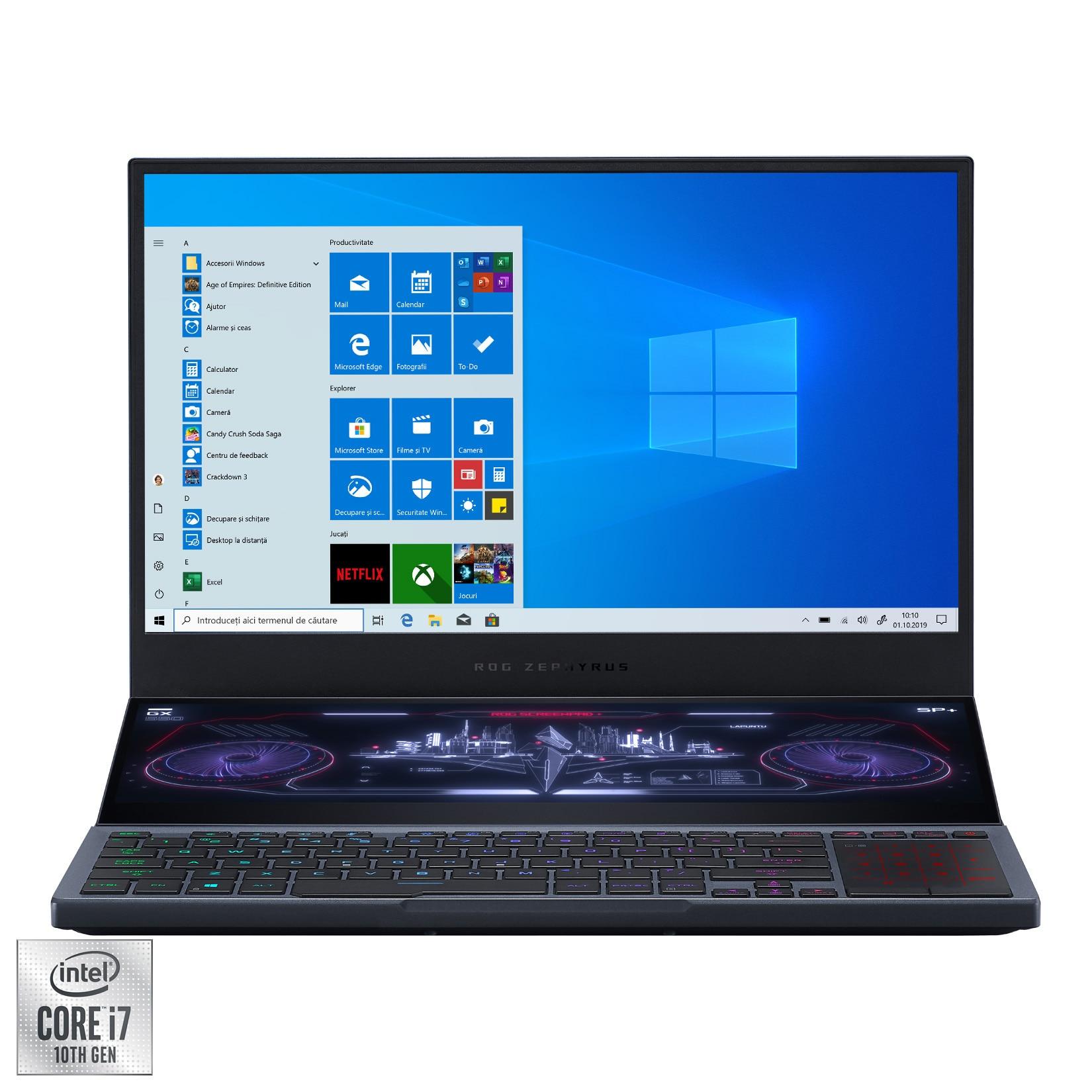 "Fotografie Laptop Gaming ASUS ROG Zephyrus Duo 15 GX550LWS cu procesor Intel® Core™ i7-10875H pana la 5.10 GHz, 15.6"", Full HD, 300Hz, 32GB, 1TB SSD, NVIDIA® GeForce® RTX 2070 SUPER™ Max-Q 8GB, Windows 10 Pro, Gunmetal Gray"