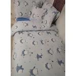 Спално бельо, Памук Ranforce Lux, Модел Малки Сови / Син, За 1 човек, 70 х 70, 150 х 200, 4 части