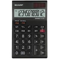 Calculator de birou SHARP 12 digits, dual power,EL-124TWH - negru/alb