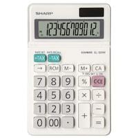 Calculator de birou SHARP 12 digits, dual power, ecran rabatabil,EL-320W - alb