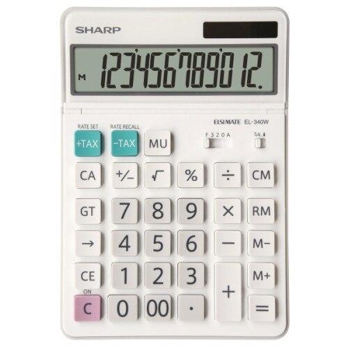 Fotografie Calculator de birou SHARP 12 digits, dual power, ecran rabatabil,EL-340W - alb