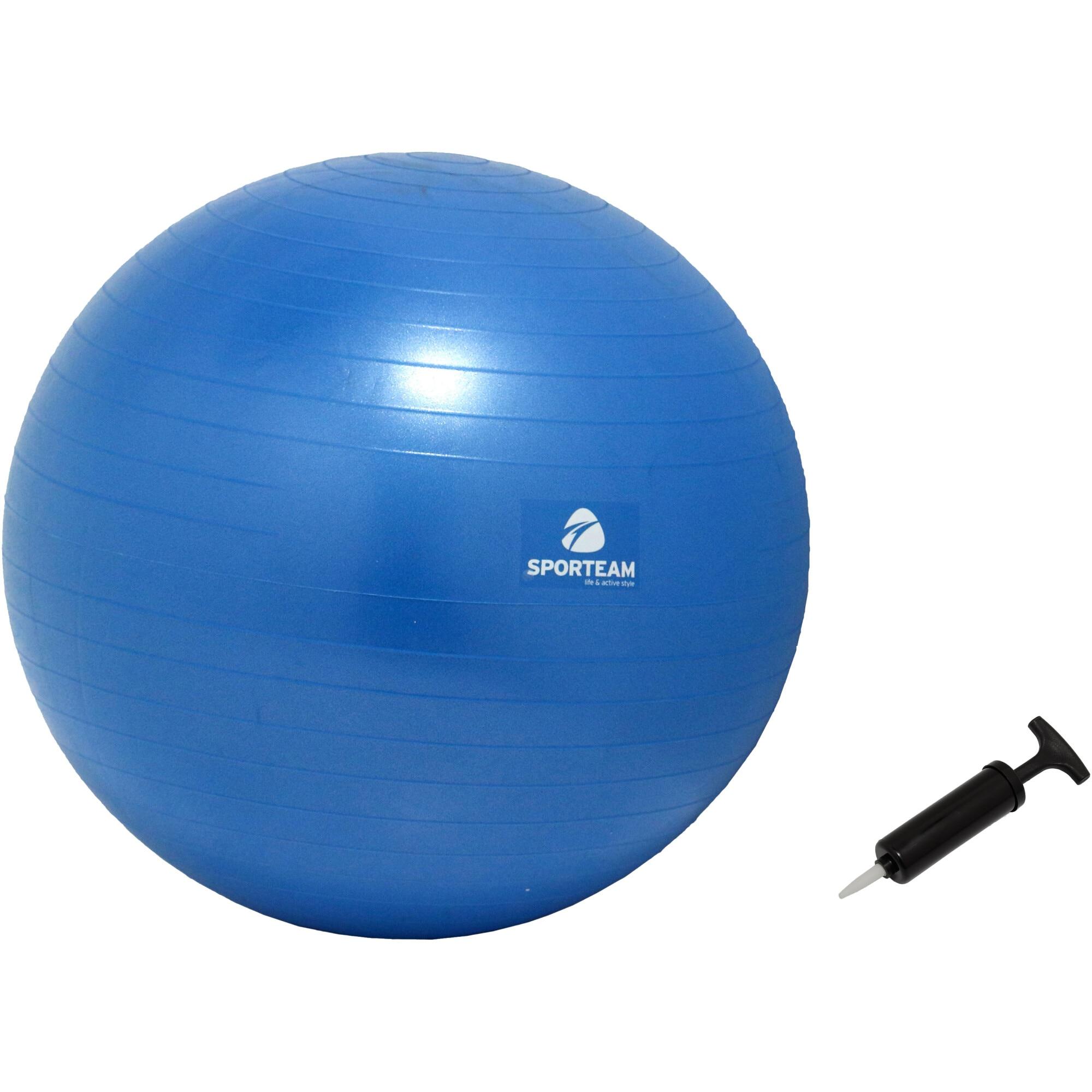Fotografie Gym-ball fitness Gymbopro, 55 cm, cu pompa, culoare albastru
