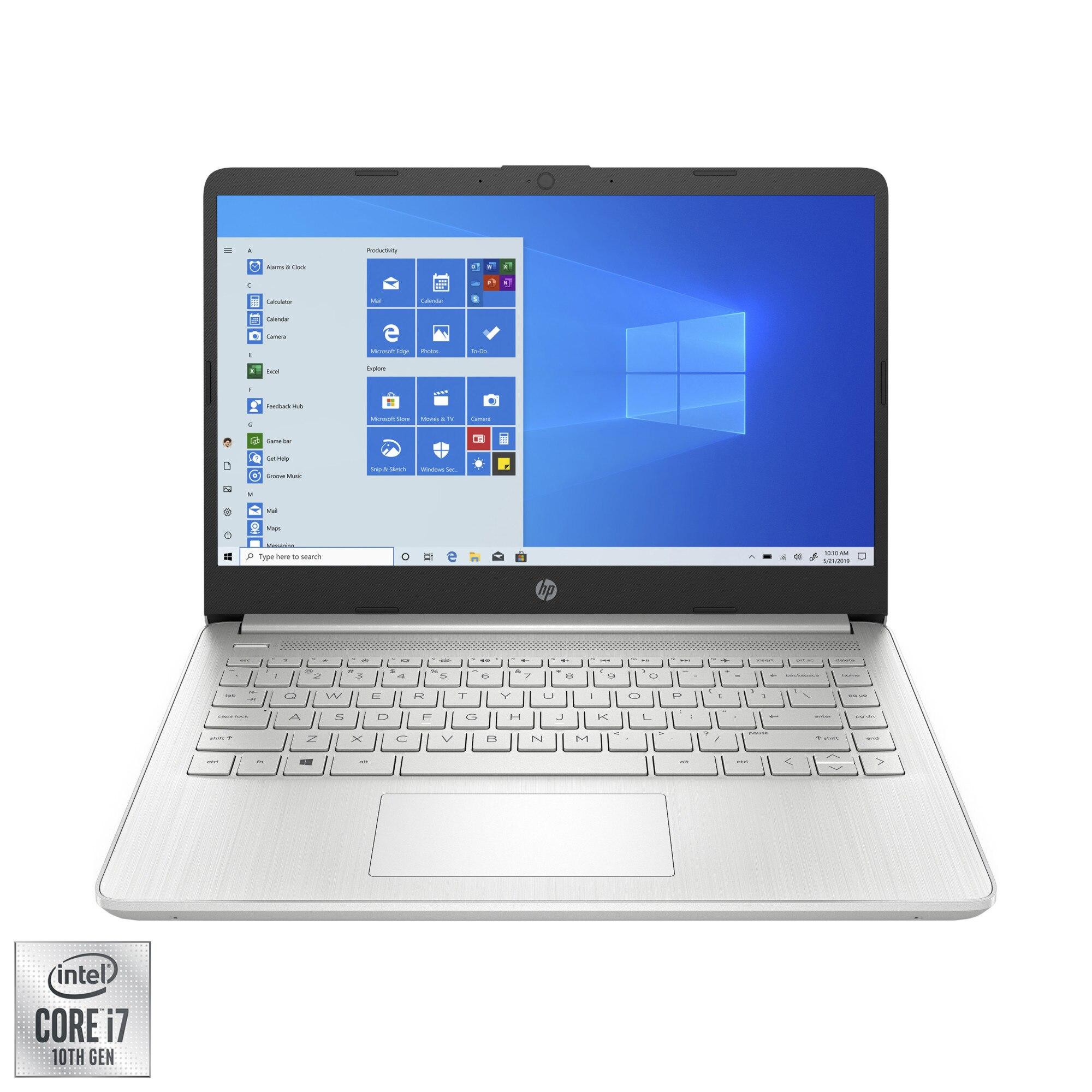 "Fotografie Laptop ultraportabil HP 14s-dq1005nq cu procesor Intel® Core™ i7-1065G7 pana la 3.90 GHz, 14"", Full HD, 8GB, 512GB SSD, Intel® Iris® Graphics, Windows 10 Home, Natural Silver"